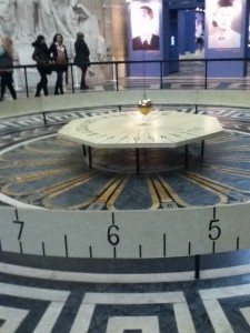What goes around, goes around. Foucault made his most famous pendulum (his second) when he suspended a 28 kg brass-coated lead bob with a 67 meter long wire from the dome of the Panthéon, Paris. The plane of the pendulum's swing rotated clockwise 11° per hour, making a full circle in 32.7 hours. The original bob used in 1851 at the Panthéon was moved in 1855 to the Conservatoire des Arts et Métiers in Paris. A second temporary installation was made for the 50th anniversary in 1902