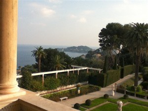 The view of the Mediterranean and a sliver of the gardens from the loggia of the villa.