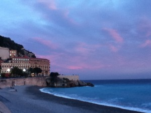 Castle Hill reflects the setting sun on our last day in Nice.