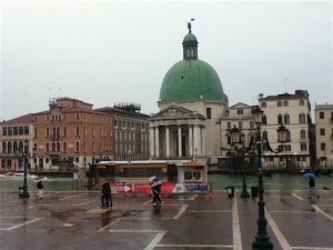 The view from a rainy St. Lucia train station on the way out of Venice. Normally, this plaza would be so full of people you could not see the surface.