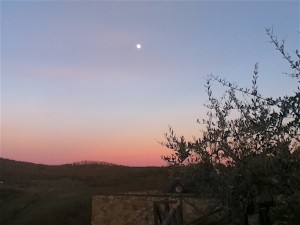 By the time we left the second winery, the moon had risen over the sunset in the hills of Tuscany.