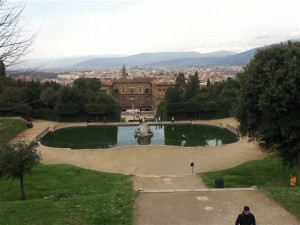 Well worth the climb up the BOboli Gardens for a view of the Pitti Palace and Florence in the background.