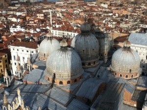The domes of St. Marks Basilica from above.