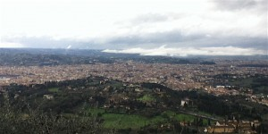 Florence spread out in the valley below Fiesole. When the sun shines, it is a work of Renaissance art.