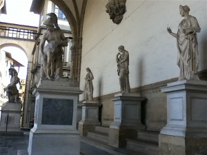 The loggia at the Uffizi  includes Roman and Renaissance sculpture wide open and free to view up close.