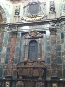 Just one of six tombs around the chapel. Only three include the statues of their occupants. Michelangelo was called away on another job before finishing this one.